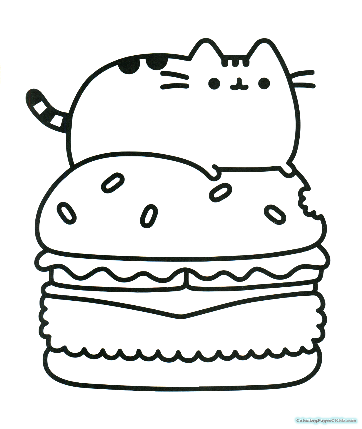 Pusheen Cat On A Hamburger Coloring Pages Cartoon Coloring Pages Unicorn Coloring Pages Pusheen Coloring Pages