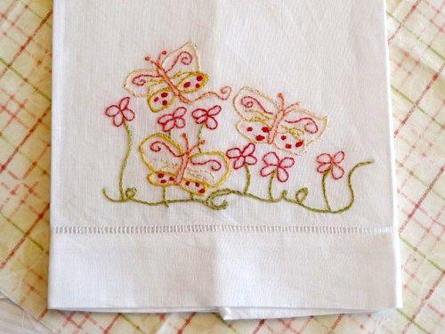 Butterfly Hand Embroidered Tea Towel Finished Needlework | Countrygarden    Needlecraft On ArtFire