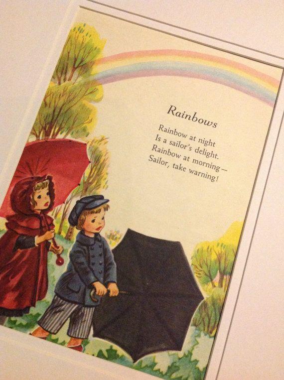 Childrens Wall Art - Vintage Nursery Rhyme Illustration - Rainbows ...