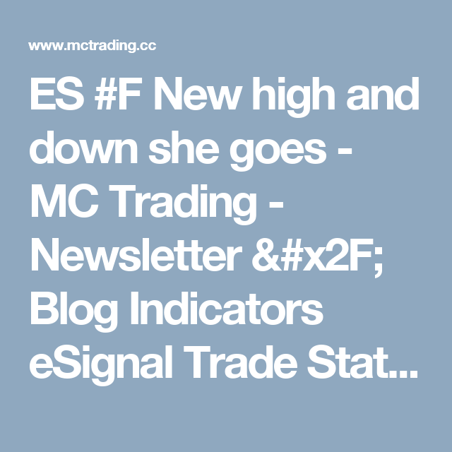 ES #F New high and down she goes - MC Trading - Newsletter