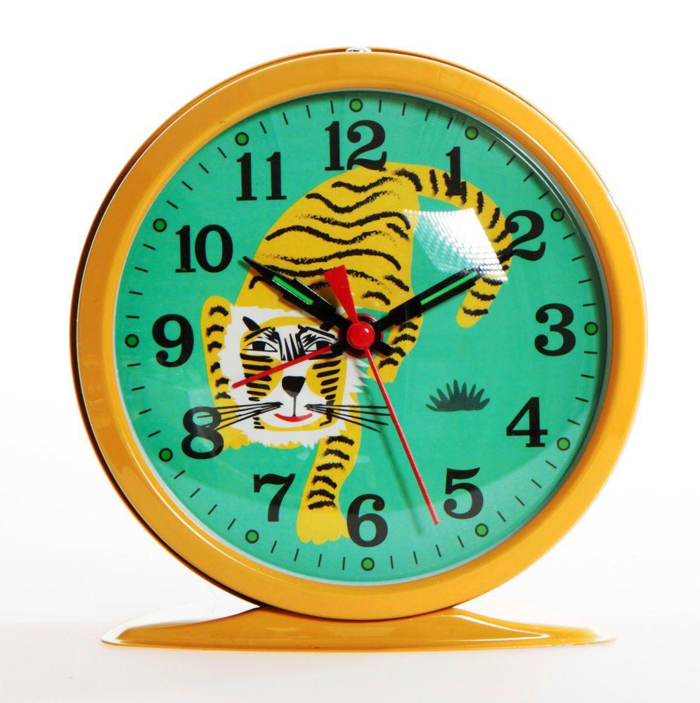 RÉVEIL horloge TIGRE style VINTAGE en MÉTAL chambre d enfant TENDANCE