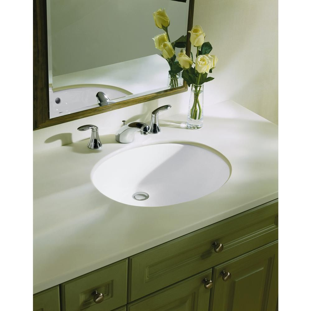 KOHLER Caxton Vitreous China Undermount Bathroom Sink in White with ...