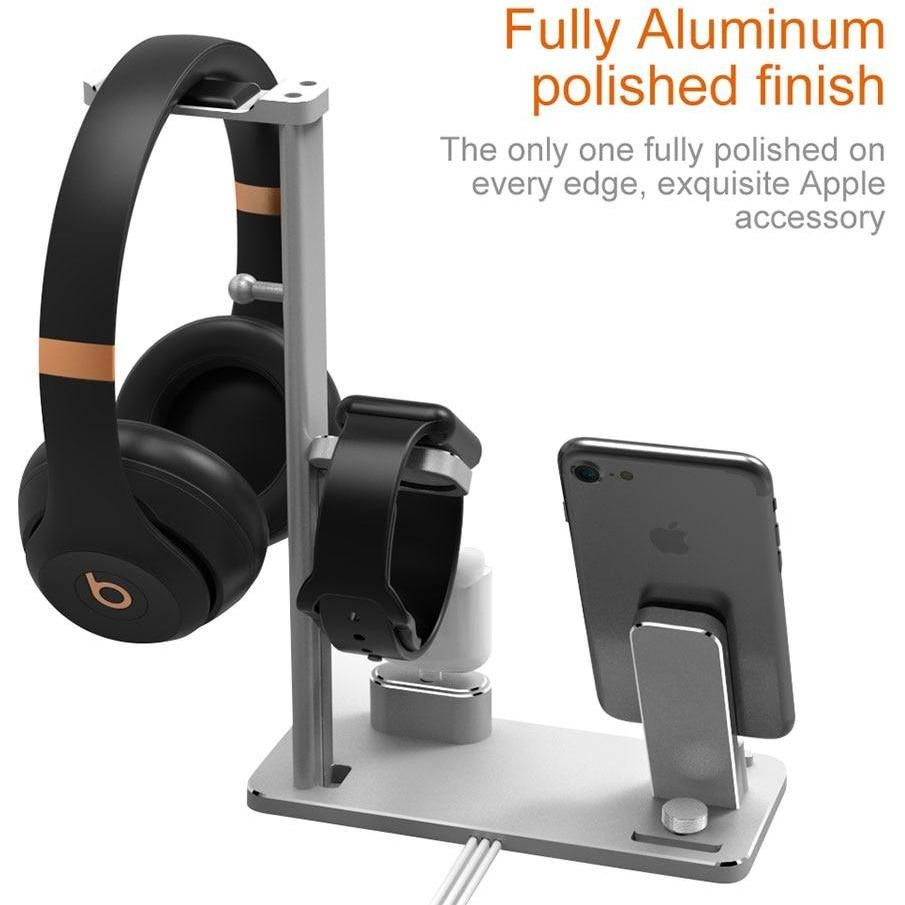 4 In 1 Charging Stand For Apple Watch For Airpods Wireless Earphones Charger Station For Iphone X 8 Plus Headphone Hanger With Images Wireless Earphones Charger Station Apple Watch