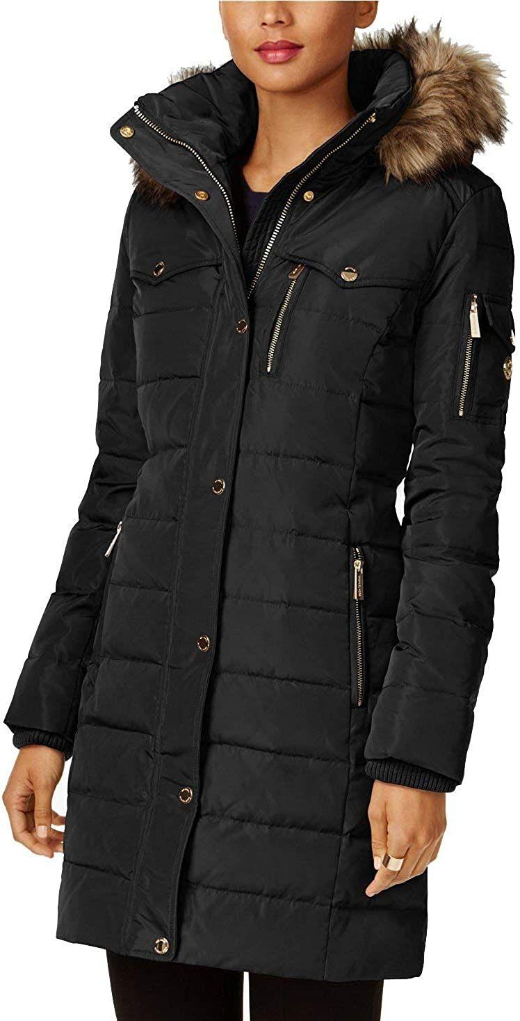 Michael Kors Faux Fur Trim Down Puffer Coat Down Puffer Coat Jackets For Women Puffer Coat [ 1467 x 748 Pixel ]