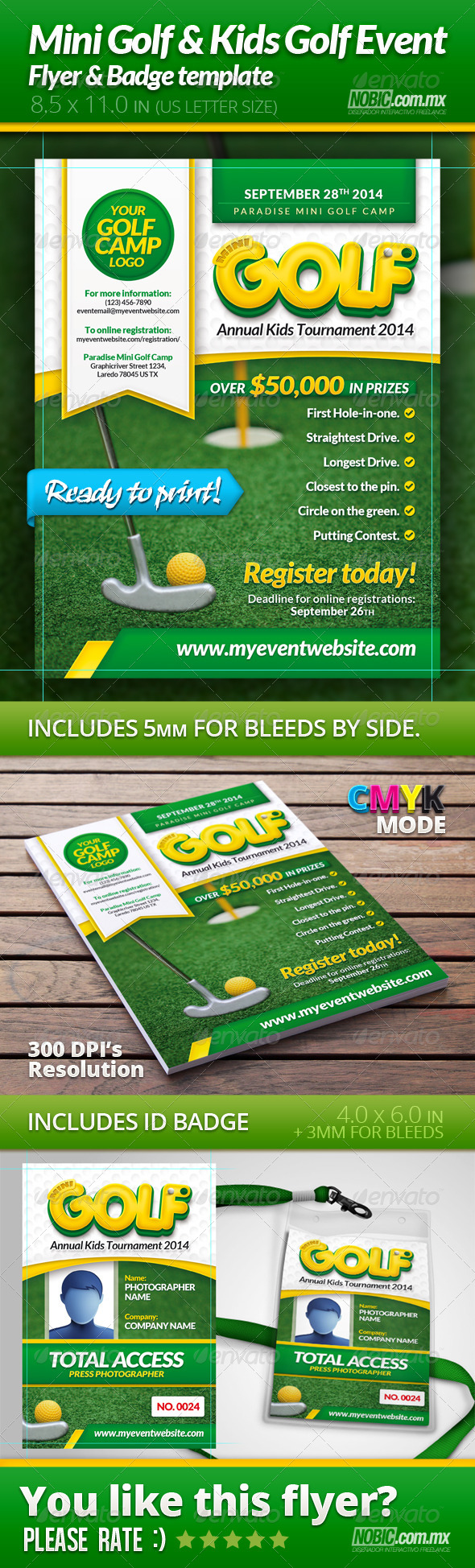 mini golf and kids golf flyer and badge template sports events