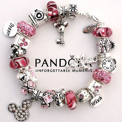 Design Your Own Photo Charms Compatible With Pandora Bracelets Authentic Bracelet Pink Love Mickey Mouse Wish Crystal Murano Charm Bead