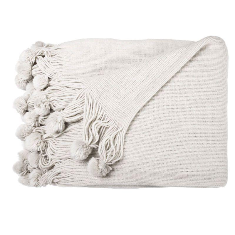 New Pom Throw Ivory Cream Beige Sofa Blankets Throws Rugs Tels