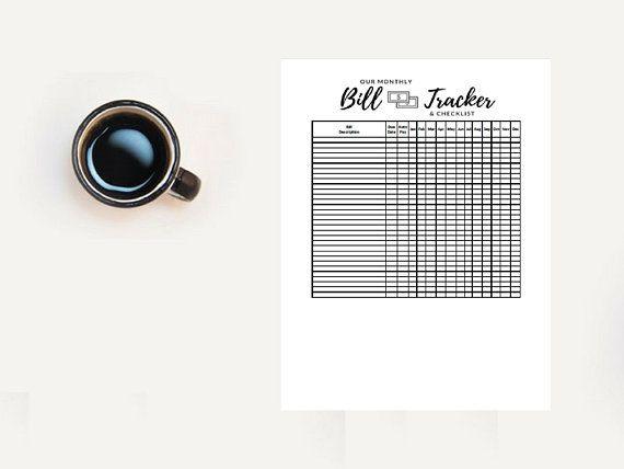 Monthly Bill Tracker Printable Bill Tracker Spreadsheet Budget Etsy Bill Tracker Printable Budget Spreadsheet Bill Tracker