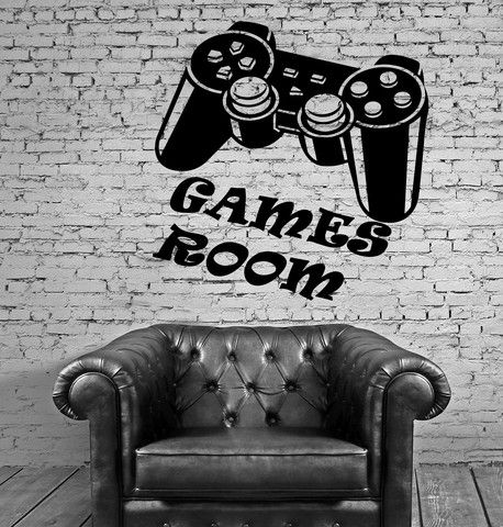 Games Room Wall Stickers for Kids Nursery Video Game Joystick Vinyl Decal ig2372