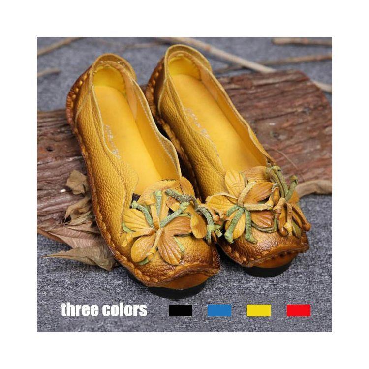 2018 Damska Letnia Wiosna Prawdziwej Skory Recznie Kwiat Mokasyny Buty Kobieta W Ciazy Miekkie Plaskie Buty Na Co Dzien Vova Casual Shoes Women Casual Flat Shoes Loafers