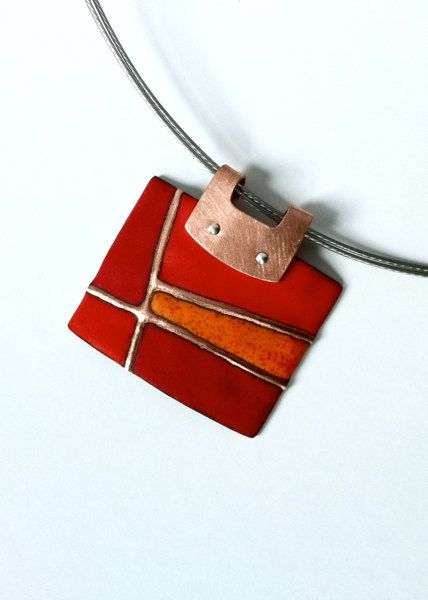 Patchwork Series Pendant in Reds and Orange by AngelaGerhard