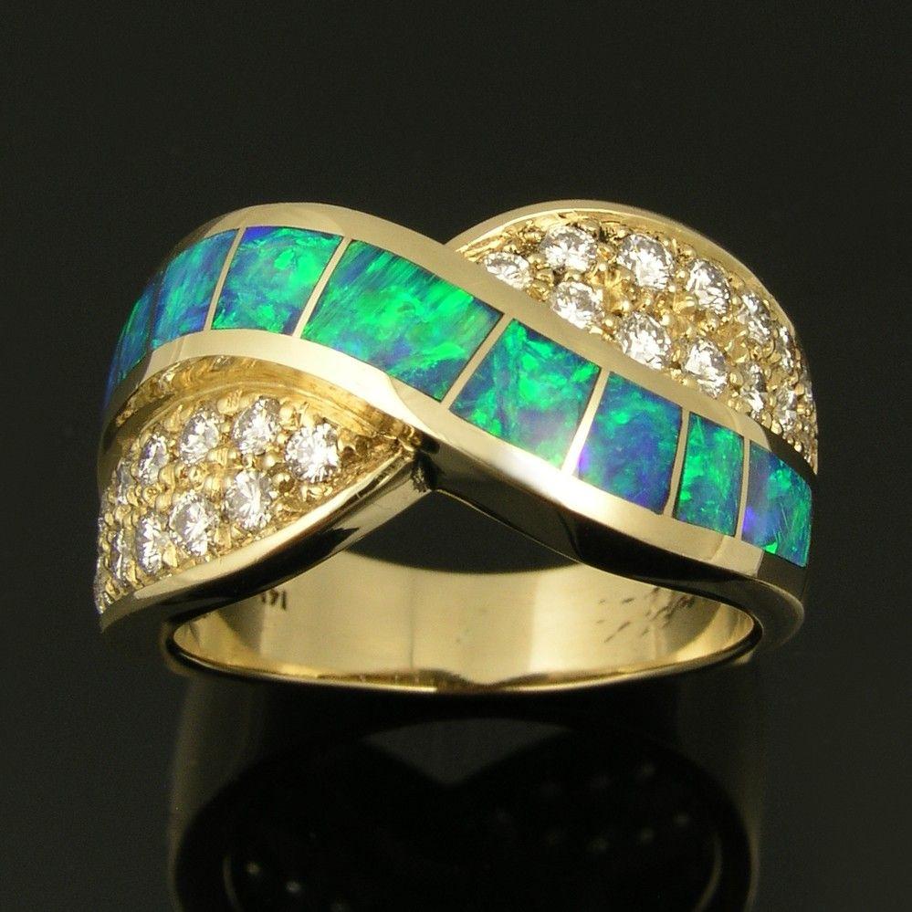 Australian Opal Wedding Ring with Diamond Accents