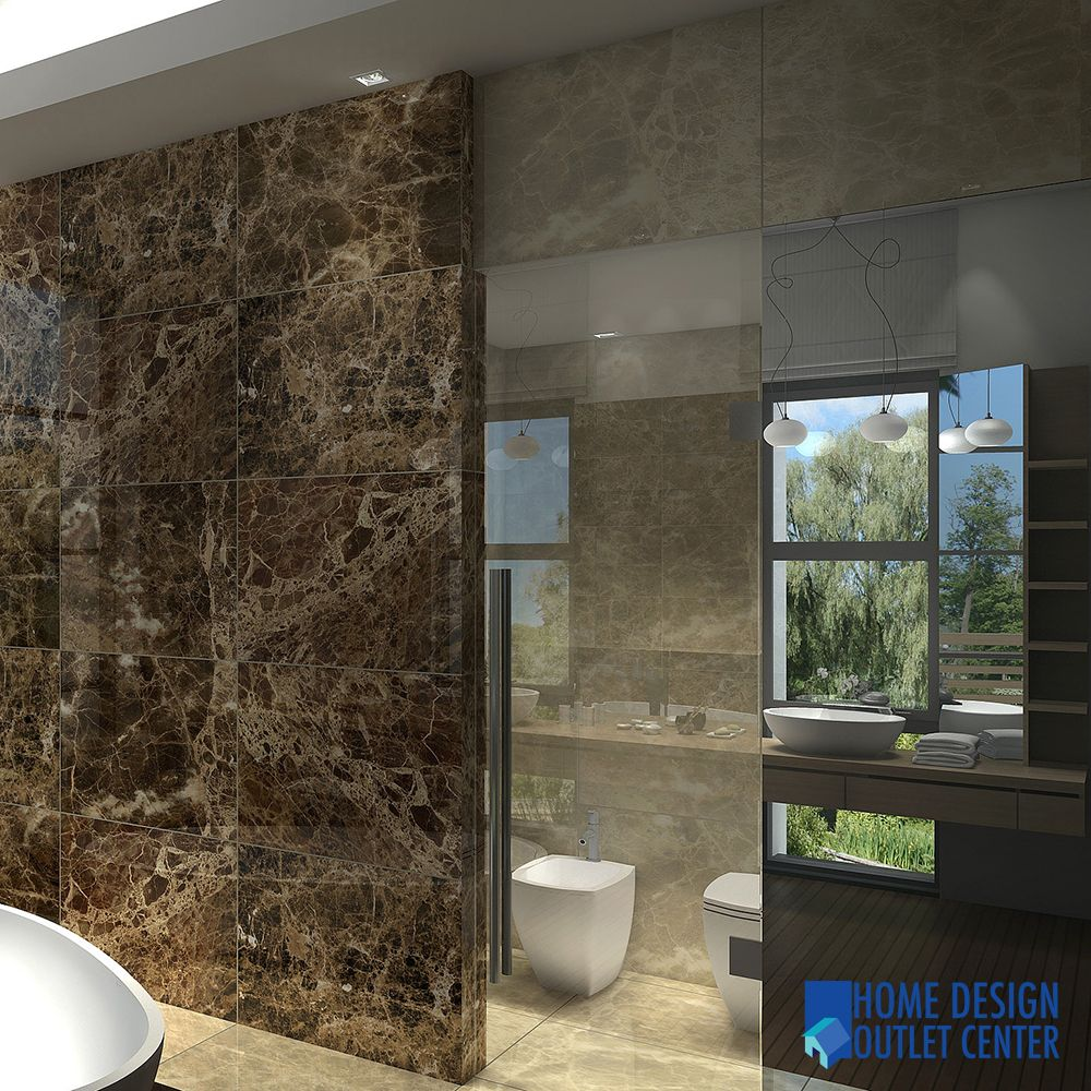 Bathroom design with Dark emperor and light emperador tile from  allmarbletiles.c - Spaces - New York - All Marble Tiles