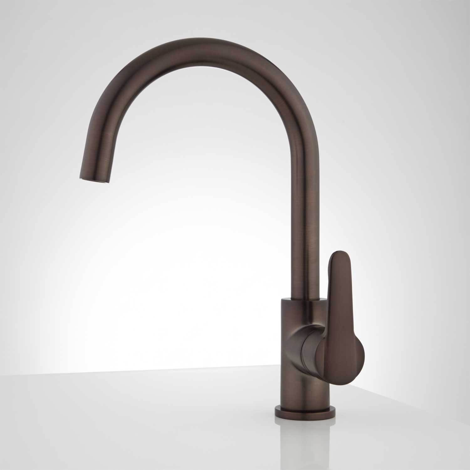 signature hardware montpellier single hole gooseneck kitchen faucet ...