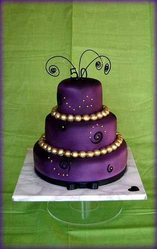 Purple And Gold Birthday Cake By Karenlindsay24 Via
