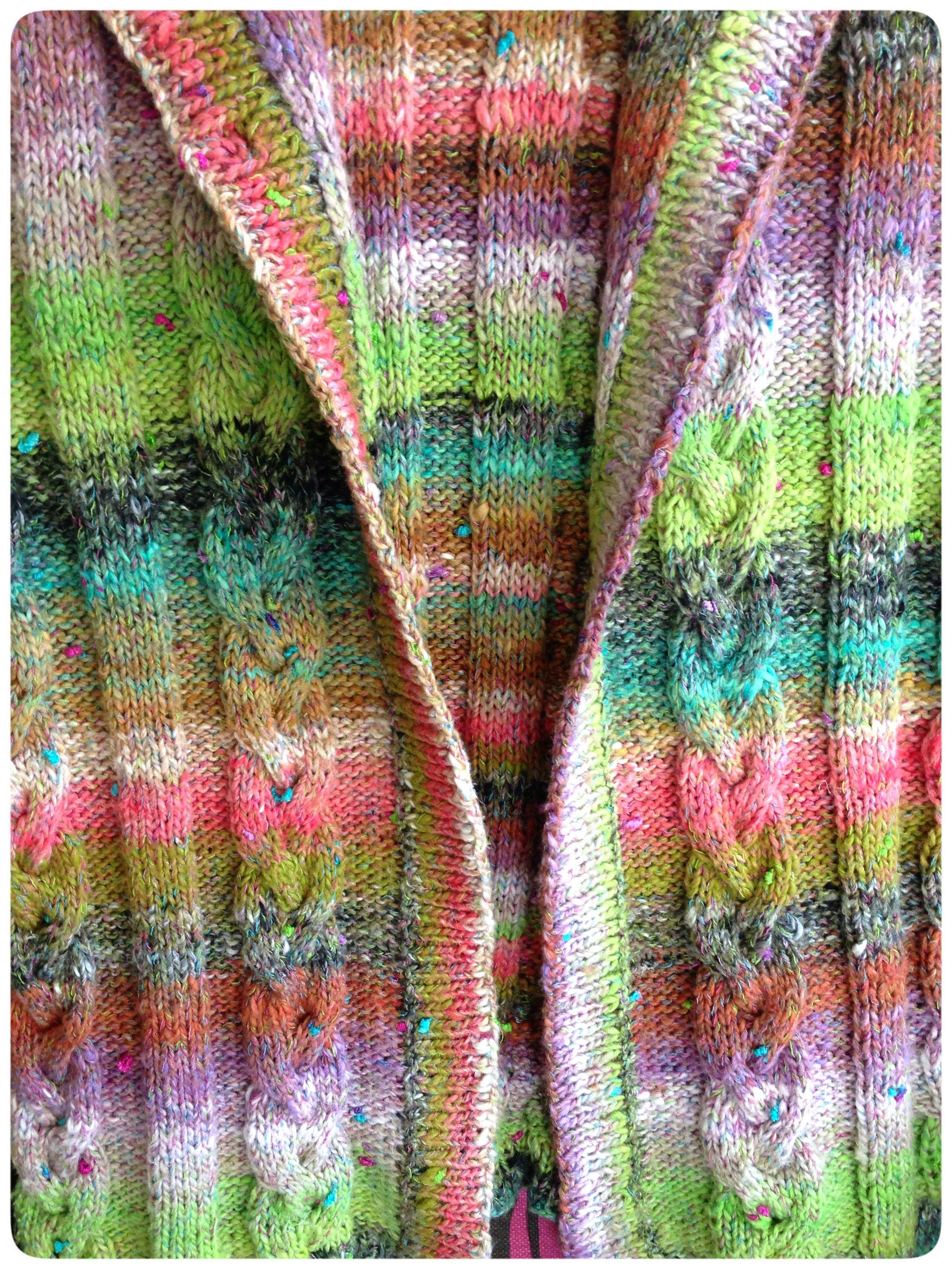 Detail of beautiful Noro knitted sleeveless cardigan made by my Mum!   (Furin 4)
