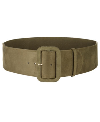 INC International Concepts Women/'s Brown Faux Leather Assymmetrical Stretch Belt