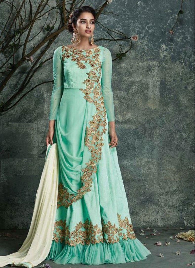 Ceremonial Sea Green Silk Floor Length Anarkali Suit | Salwar Kameez ...