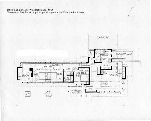 David and christine weisblat house plan 1951 frank for Frank lloyd wright floor plan