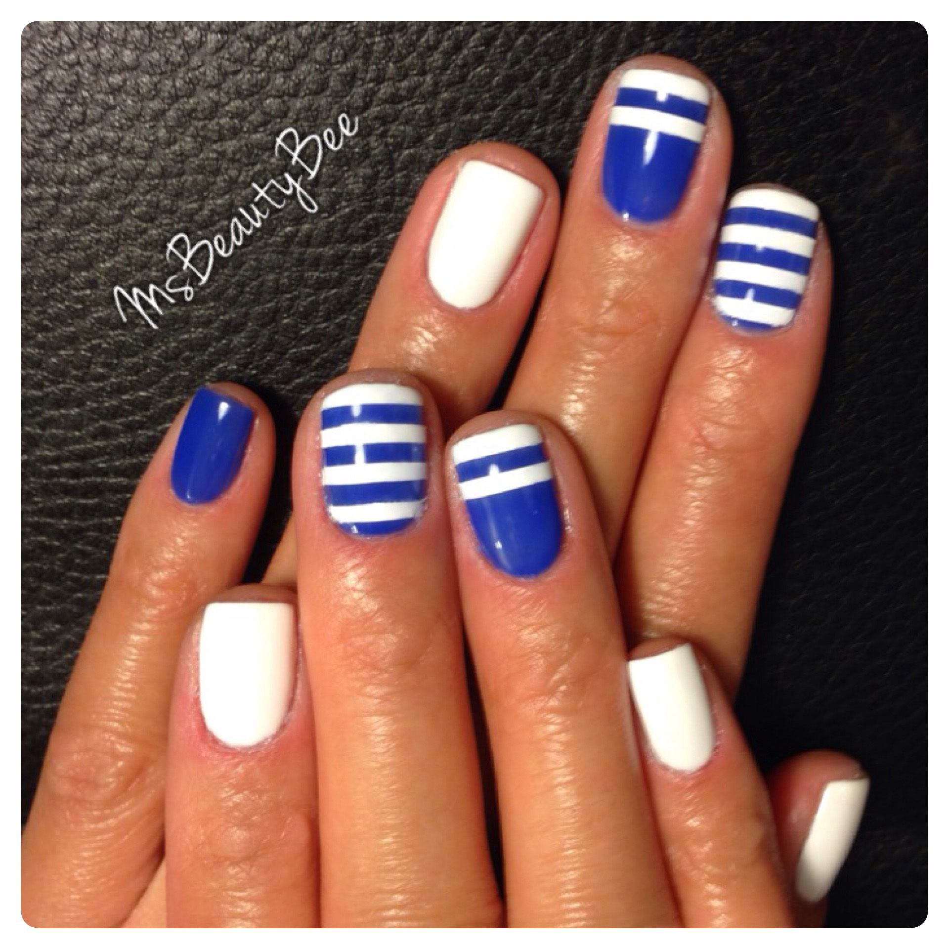 cobalt blue & white striped nails. gelish - mali-blu me away