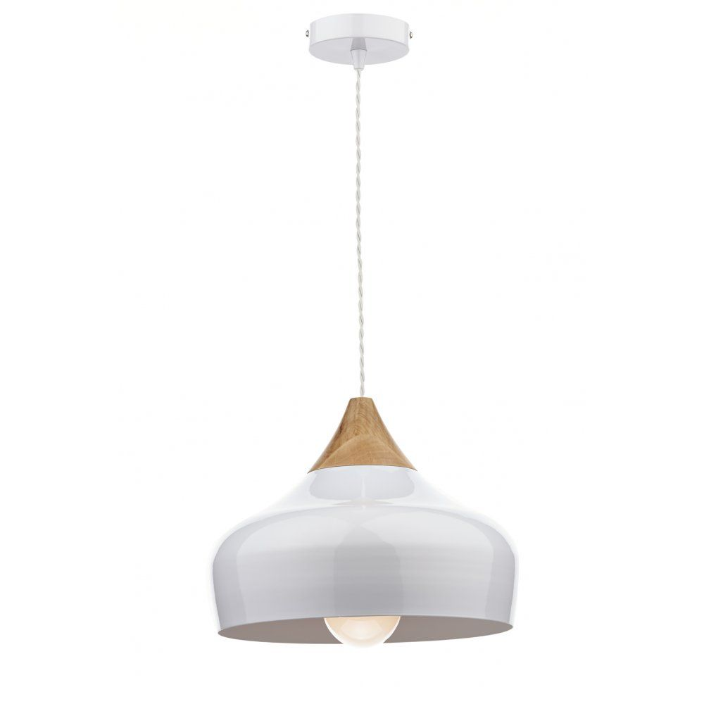 Dar Lighting Gaucho Ceiling Pendant Light Gloss White Metal And Wood Finish  GAU0102