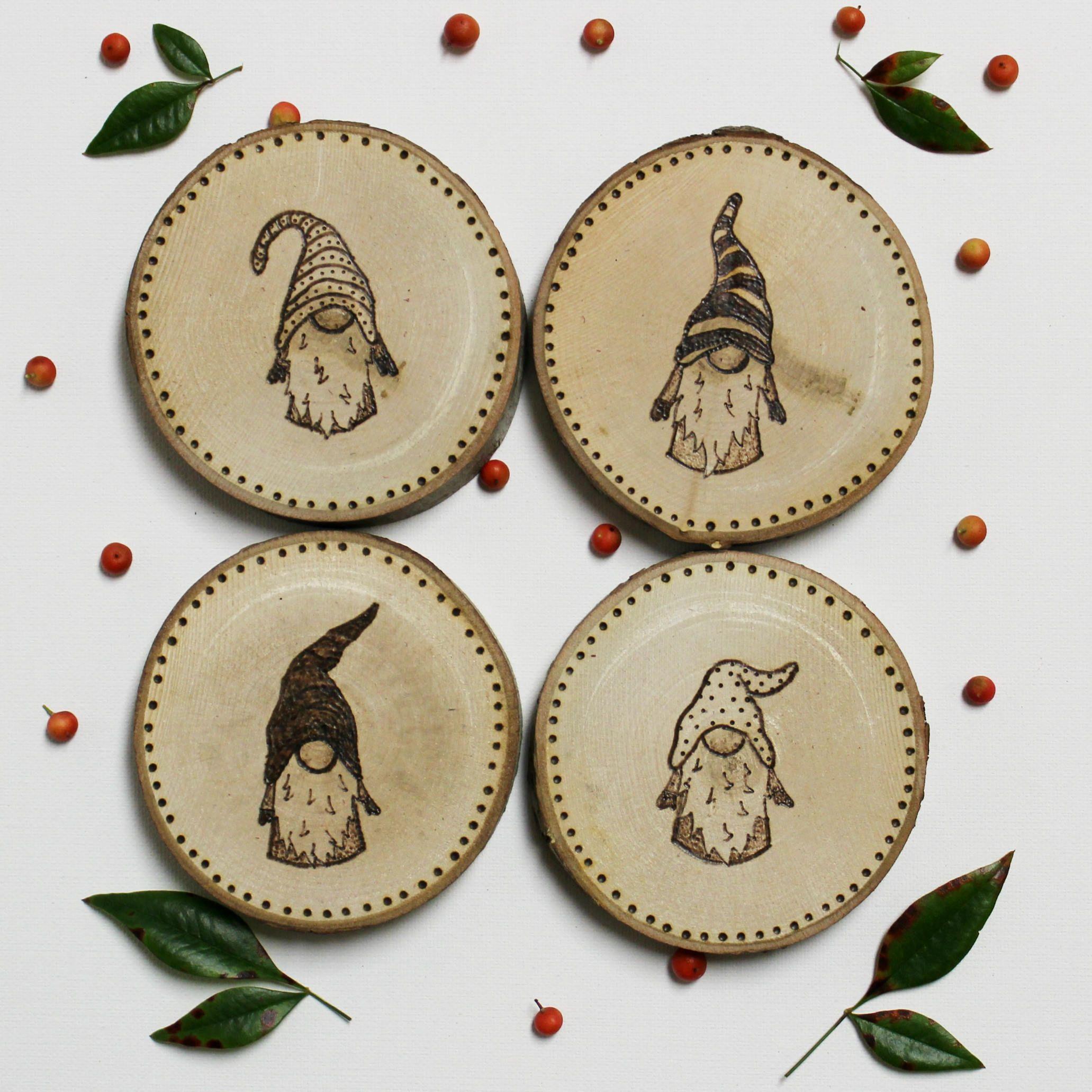 Gnome Coasters Swedish Tomte Norwegian Nisse Christmas Gnome Gnome Gift Gnomes Art Wood Burning Art Wood Christmas Ornaments Christmas Crafts
