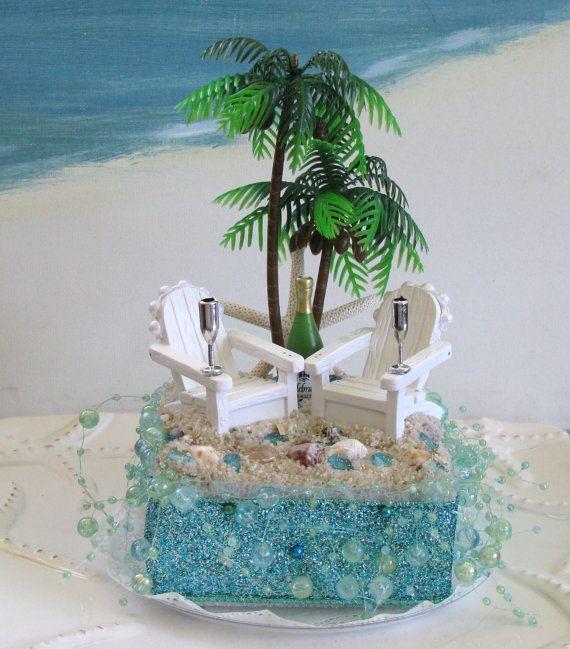 Palm Tree Adirondack Chairs Beach Wedding Cake by ...