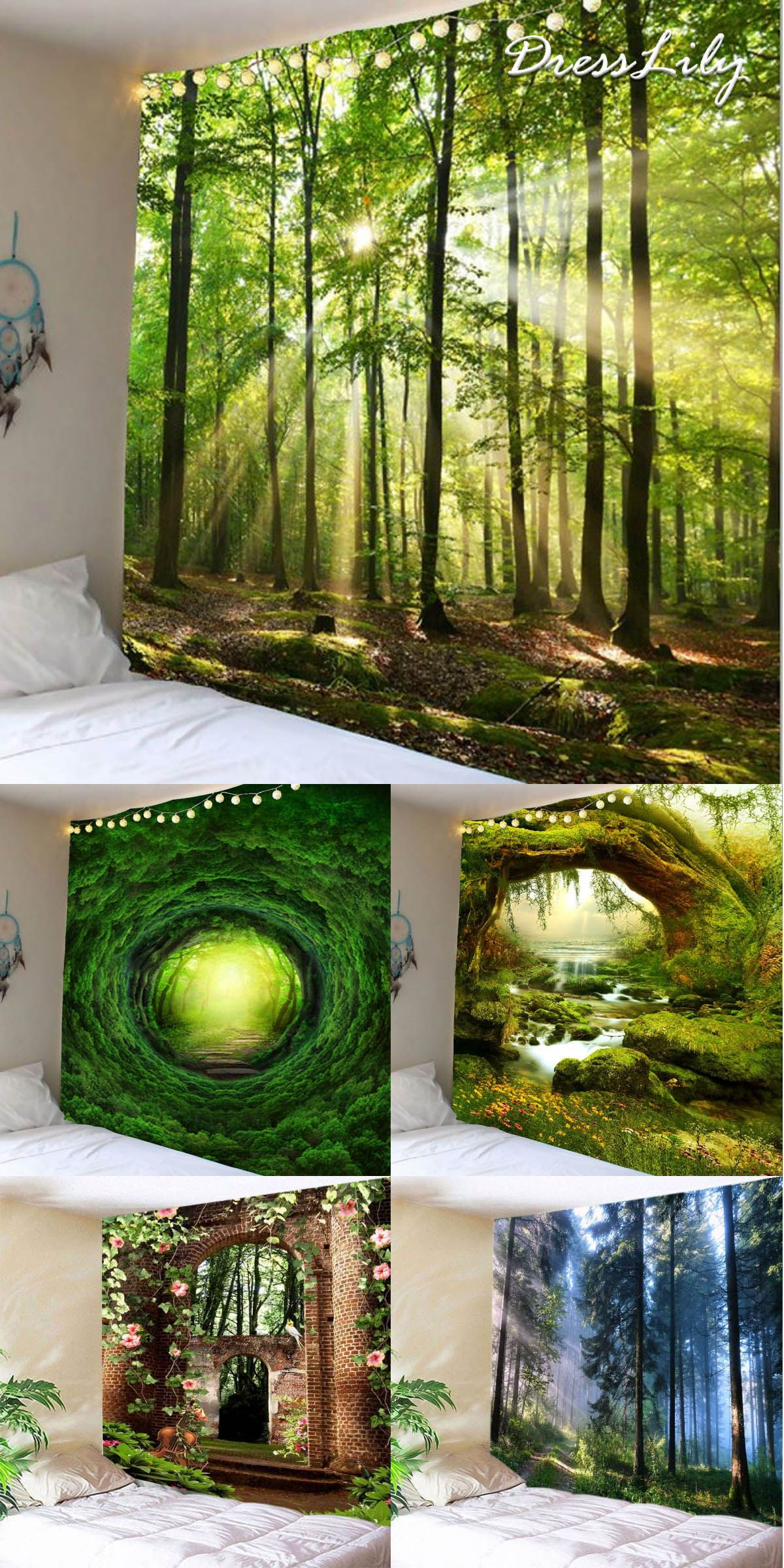 Buy The Latest Trendy Forest Print Wall Tapestry At A Cheapest