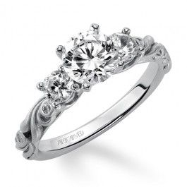 14k White Gold Fanciful Artcarved Engagement Ring Wedding Day Diamonds Three Stone Diamond Rings Engagement Large Engagement Rings Featured Jewelry