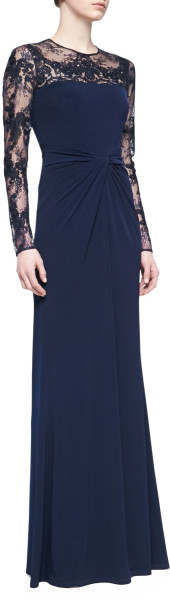 1de2c35d3b6b4 David Meister Longsleeve Lace Sequin Gown Navy in Blue (NAVY) - Lyst ...