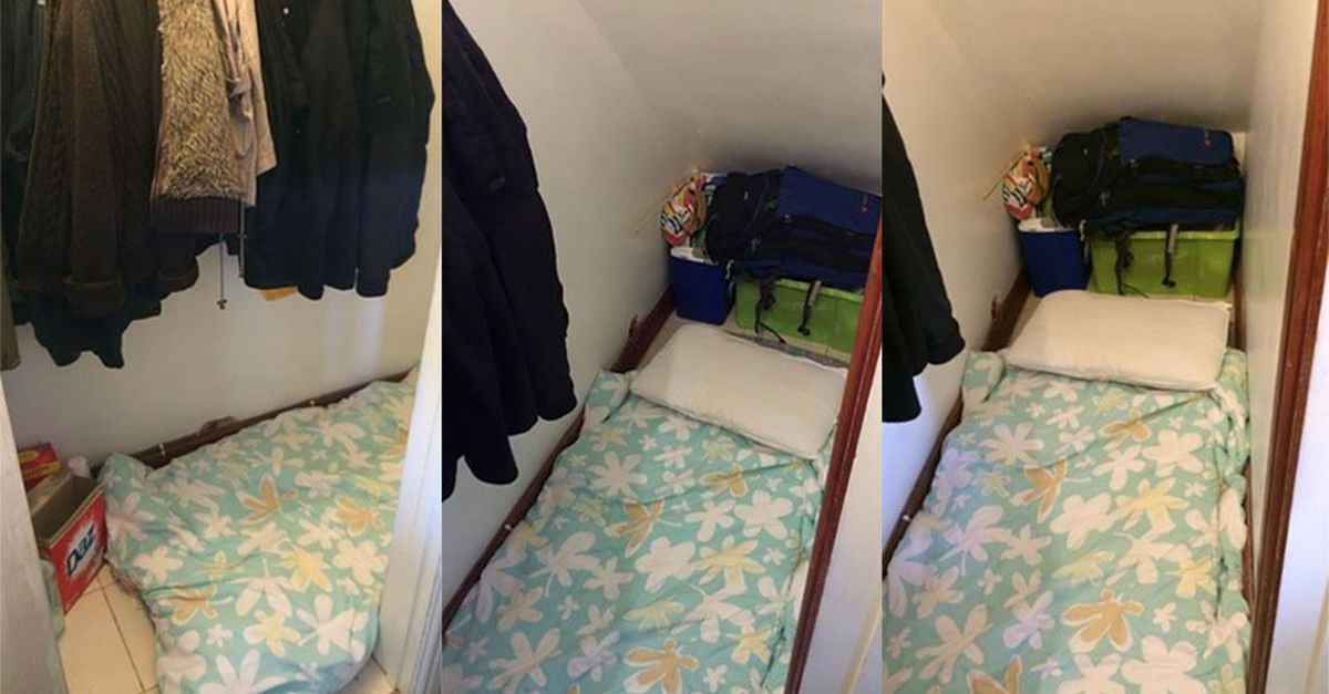 A house-hunter has shared images of a £500 ($758) per month 'room' she was shown in Clapham, London, that turned out to be a cupboard under the stairs.