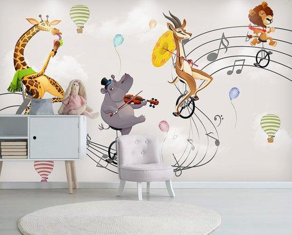 Kids Wallpaper Cartoon Animal Wall Mural Music Note Wall