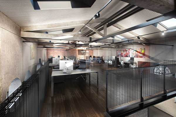 This reminds us a lot of Midland's office. A loft concept is great for team interaction and bouncing ideas off one another! #OfficeSpace