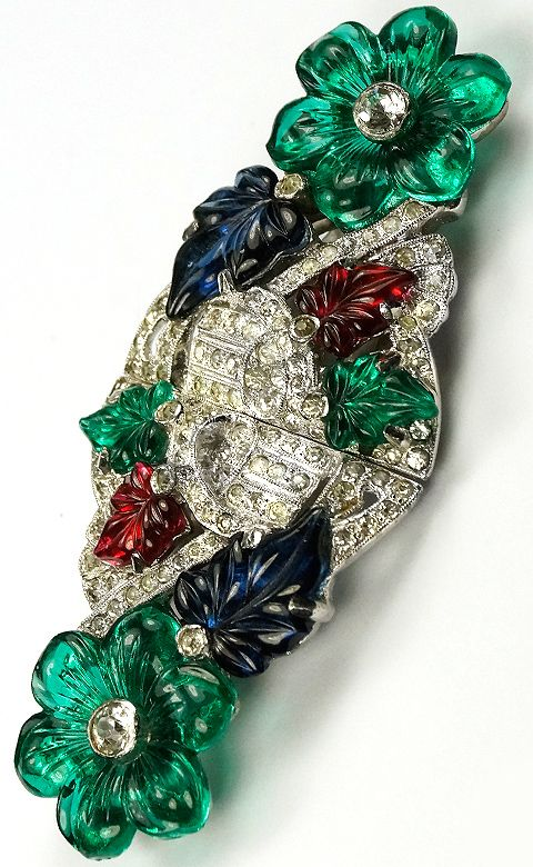 Polcini Deco Pave and Fruit Salads Two Dress Clips or Duette Pin