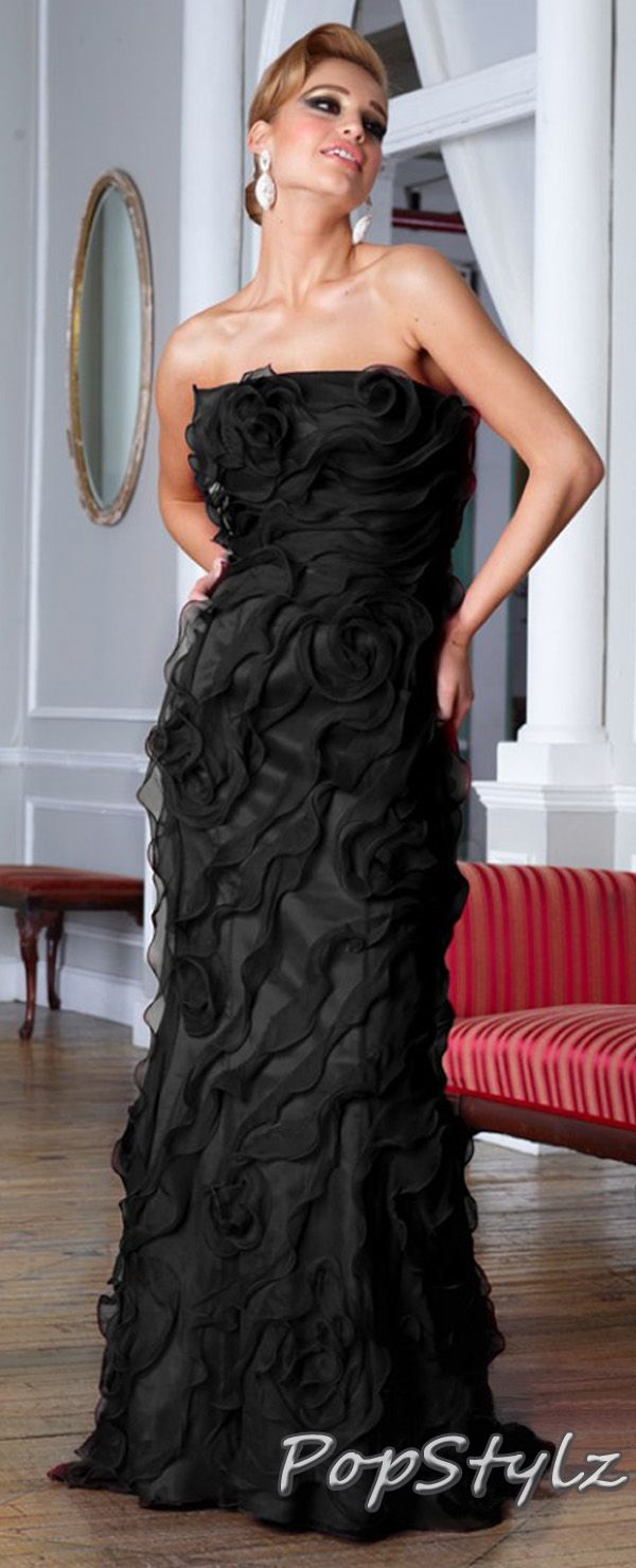 Terani couture black ruffled gown brand terani pinterest