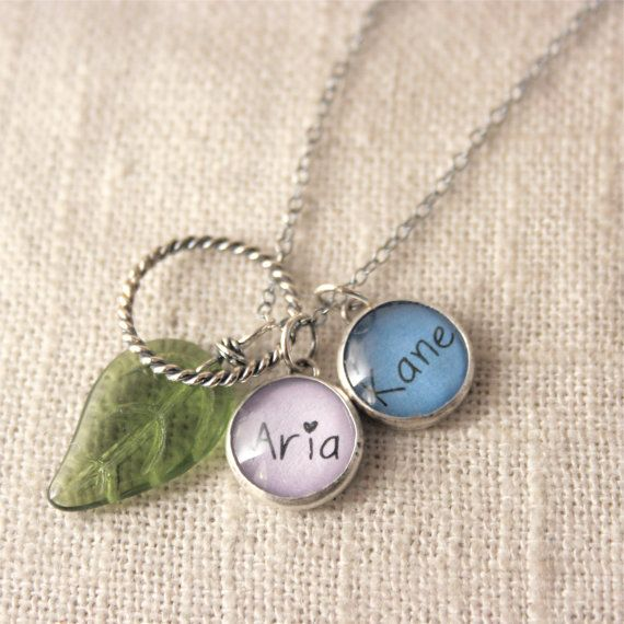 Personalized Charm Necklace  2 Names Cluster by J4JCharms on Etsy, $44.00  I bought this necklace and LOVE IT!  Sooooo cute... The colors, fonts, and charms are all customizable, so very cute & unique!  Just love it!