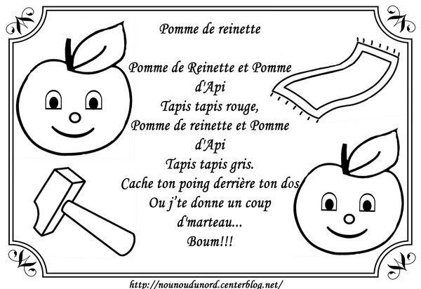 Comptine Pomme De Reinette à Colorier Comptine Pomme De