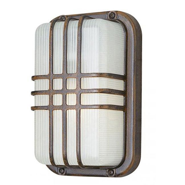Cambridge 1-Light Rust 6.5 in. Outdoor Flush Mount with Clear Polycarbonate (6.5 in. Rust 1-Light Outdoor Flush Mount), Red (Metal)