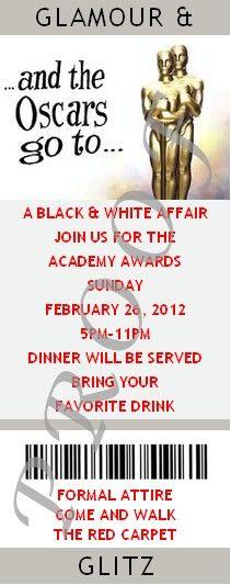 Oscar Party - Academy Awards Party - Hollywood Party - Customized Ticket Invitations