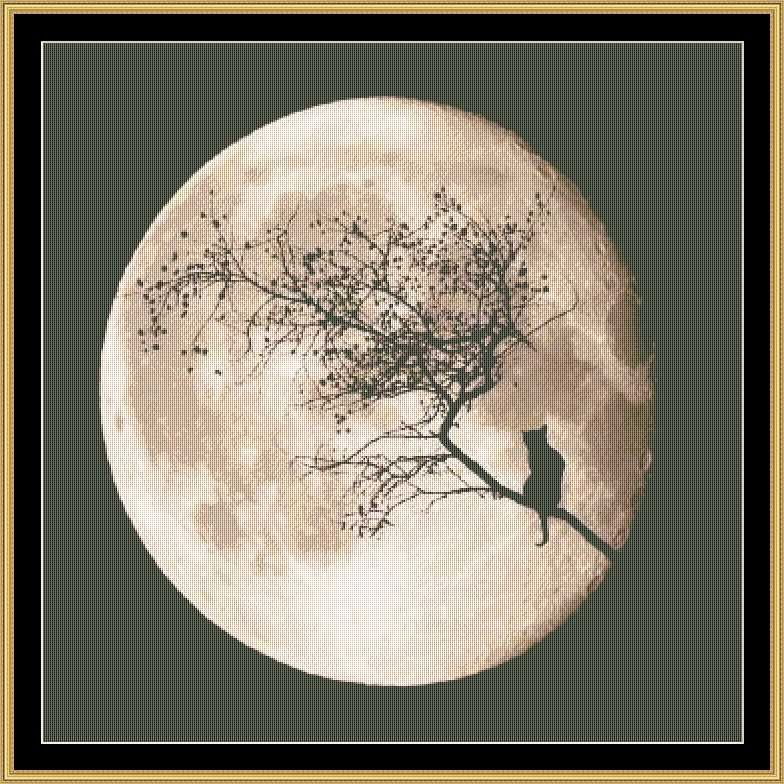 By The Light Of The Moon Mystic Stitch Cross Stitch Pattern Black Cat Cross Stitch Holiday Cross Stitch Cross Stitch