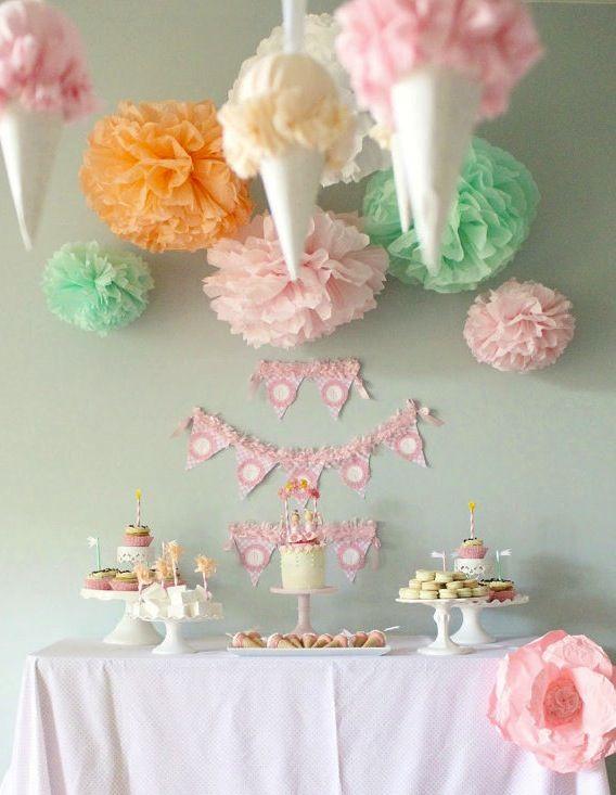Pastel pom poms by paperwhite designs diy pinterest - Bolas transparentes para decorar ...