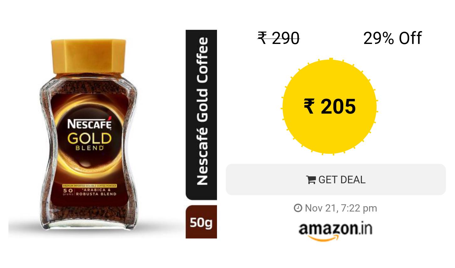 Nescafe Gold Blend Instant Coffee Powder, 50g Eden Jar
