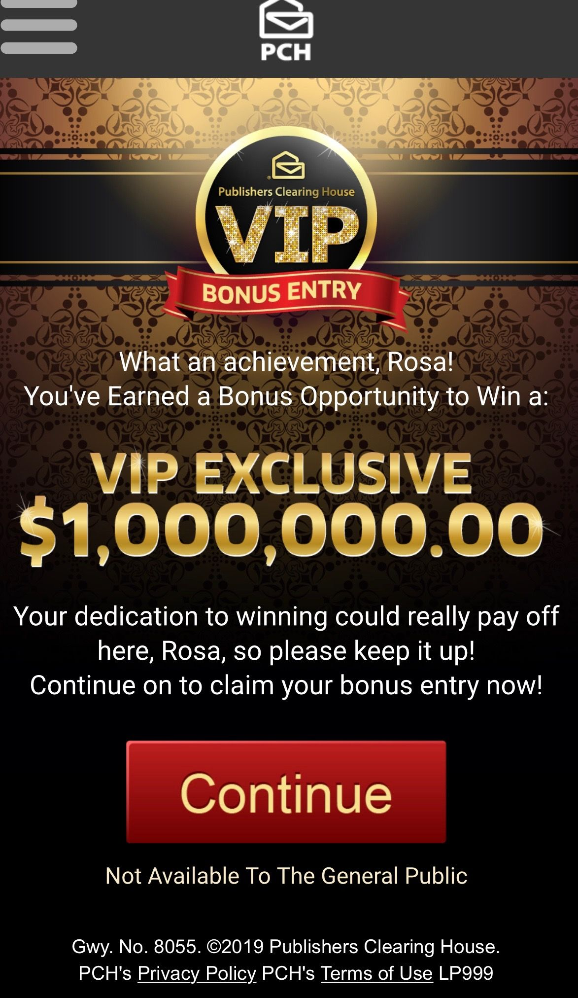 PCH VIP EXCLUSIVE I RROJAS CLAIM MY ENTRY TO WIN $1 MILLION VIP