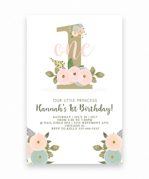 Birthday invitation floral big one 1st birthday invitation kind big one floral birthday invitation pink flowers 1st birthdaygirl birthday colorful girl birthday invitation cute birthday invitation cheap birthday filmwisefo