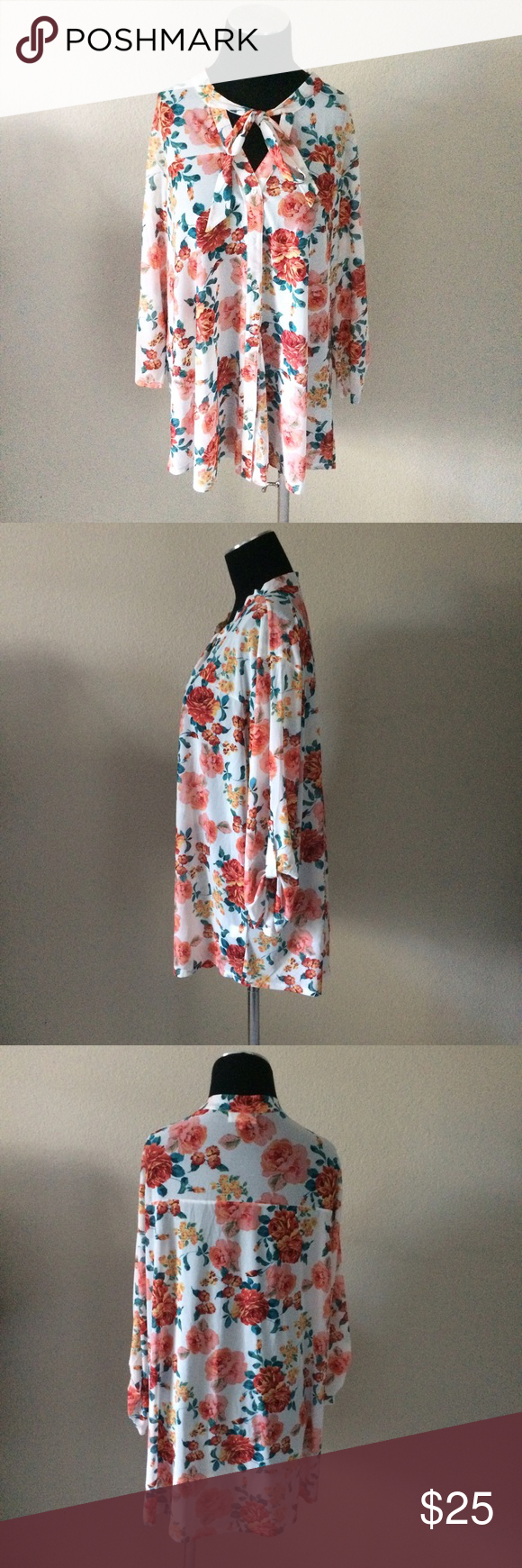 3x floral tie neck blouse 3x floral tie neck blouse. NWT . Lightweight meshlike stretch material. Can model if needed Tops Blouses