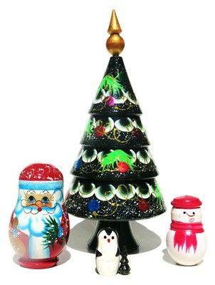 nicely decorated christmas tree russian babushka 5 piece nesting doll is on sale santa
