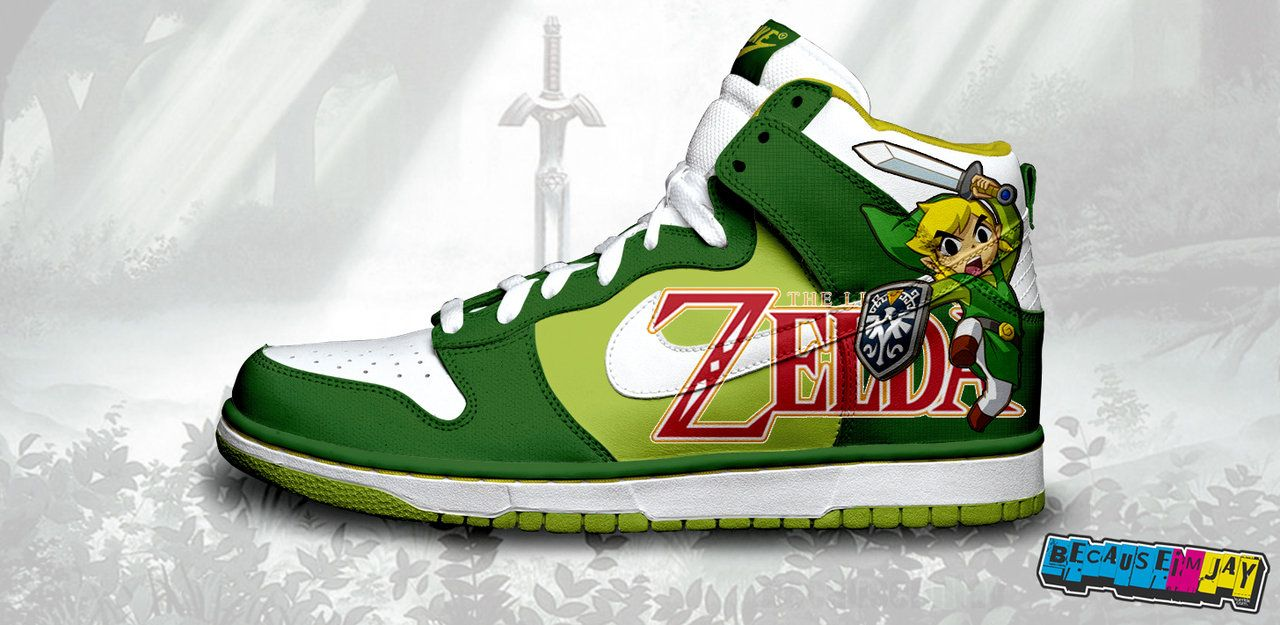 d560e1af2f1a9 Legend of Zelda Nike Dunks- yusssssss | Nerd love. | Nike dunks ...