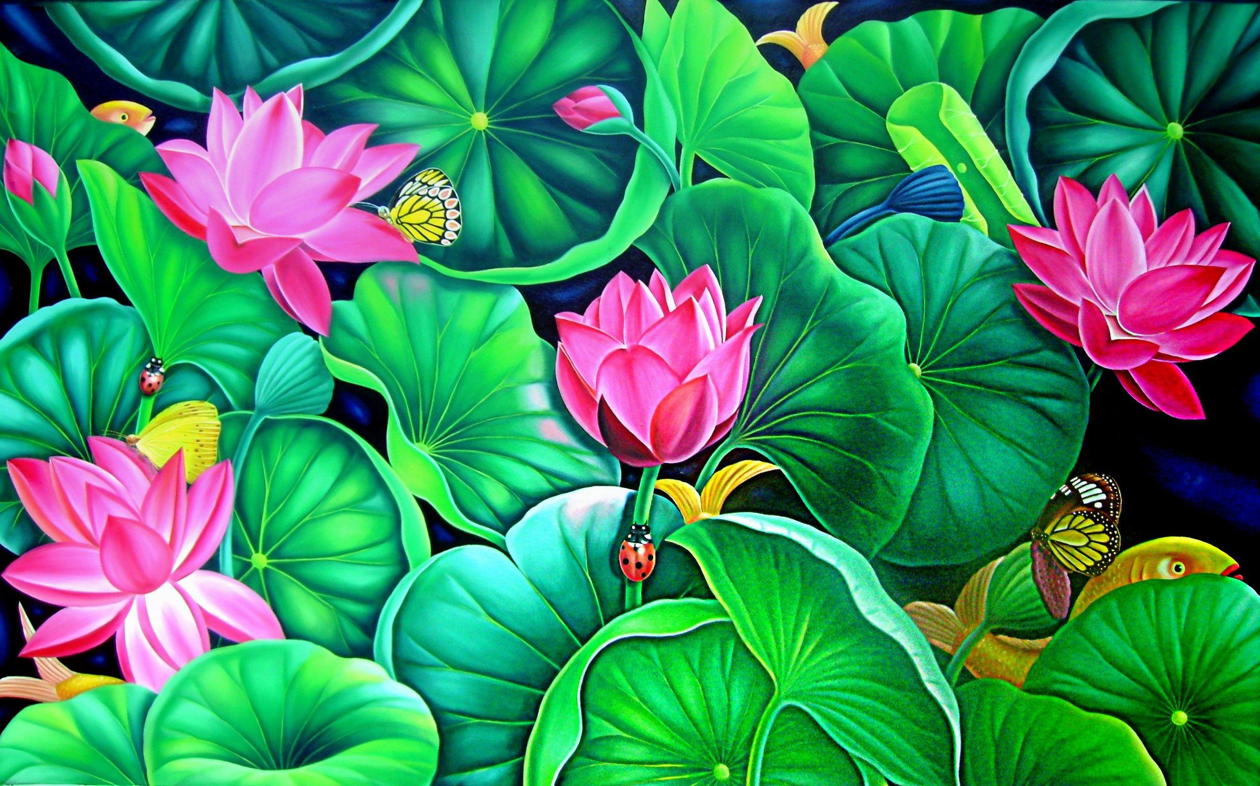 Lotus Flower Art Bali painting f...