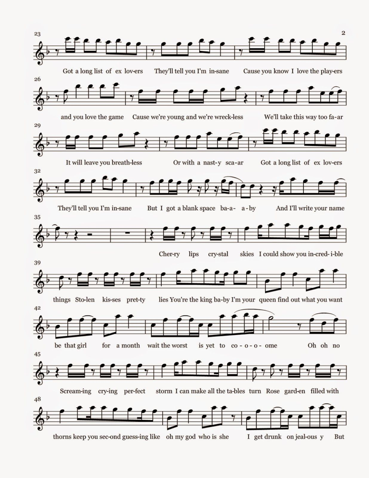 Pin by elias webb on music pinterest blank space and sheet music blank space taylor swift video notes flute sheet music pdf hexwebz Choice Image