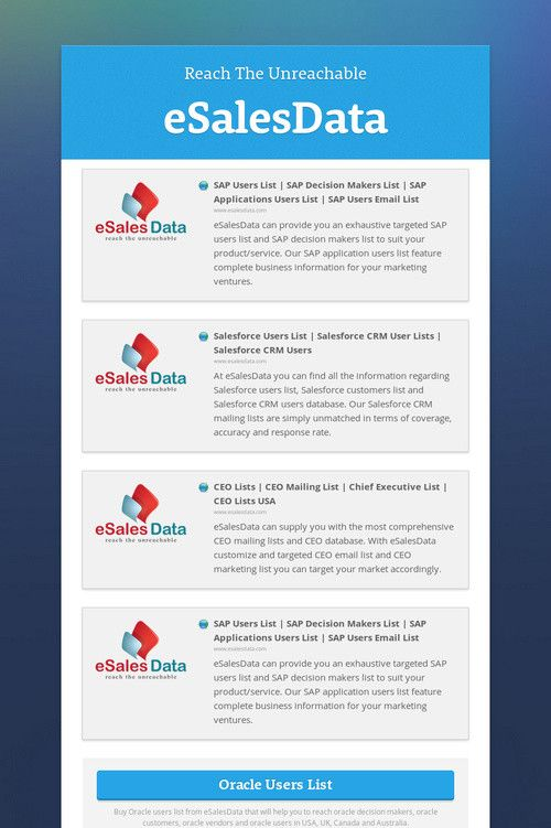 Mailing List - eSalesData provides mailing lists and email